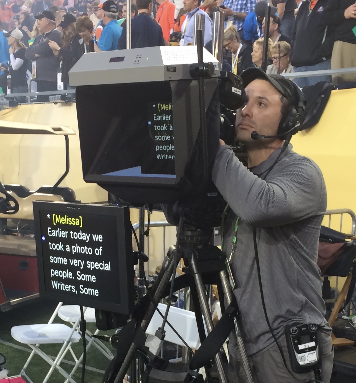 Eyeline's outdoor on-camera and off-camera teleprompters at Super Bowl 50