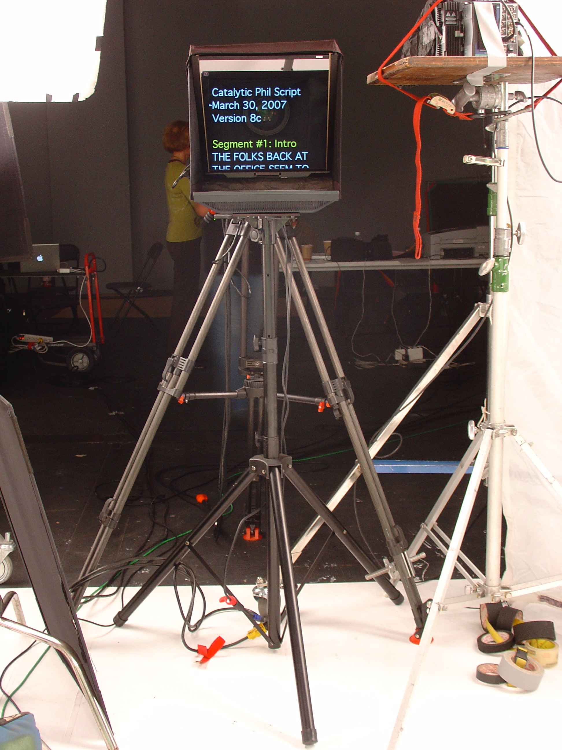 A freestanding teleprompter is not attached to the camera