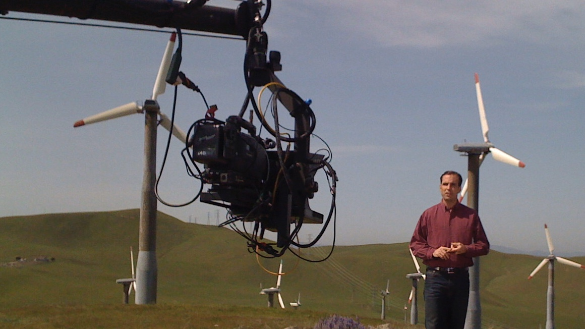 Jib teleprompter outdoors